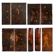 11 German Art Deco Walnut and Pine Painted Architectural Wall Panels