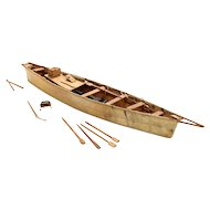 Vintage Large West Greenland Leather, Soapstone and Driftwood Boat Model