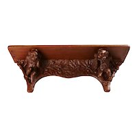 Rare Signed German Jugendstil Walnut Monkey Bracket Wall Console Shelf