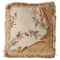 Small French Aubusson Tapestry and Tasseled Throw Pillow