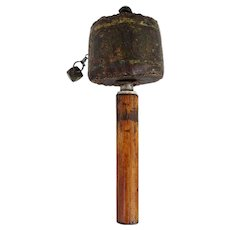 Tibetan Buddhist Wood and Painted Leather Prayer Wheel (Mani)