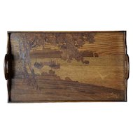 French Emile Galle Art Nouveau Marquetry Walnut Gallery Tray