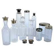 Collection Victorian Silverplate Mounted Hand Cut Glass Dresser Vanity Bottles and Jars (12 pieces)