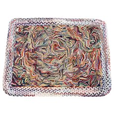 Small American Folk Art Crazy Quilt Style Hooked and Braided Rug