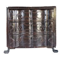Small Indo-Portuguese Rosewood Miniature Chest of Drawers Table-Top Box