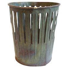 Vintage Rustic Patinated Tin Pierced Farmhouse Bucket