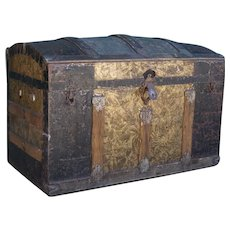 American Victorian Dome-Top Humpback Steamer Travel Trunk