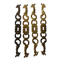 Set of Four Vintage French Solid Brass Lock Plate Escutcheons