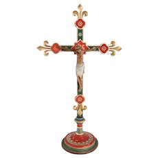 Continental Painted Wooden Crucifix on Stand