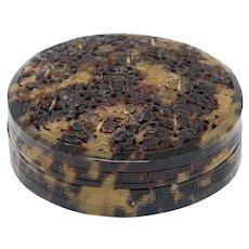 Chinese Tortoiseshell Round Reticulated Lid Box