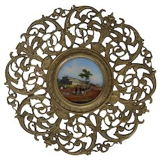 English Victorian Reverse Painted Glass and Reticulated Brass Crystal Palace World's Fair Calling Card Tray
