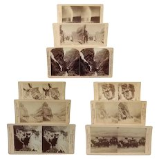 Nine American Colorado, Wyoming and Arizona Stereoview Cards