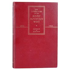Vintage Signed Book: The Literature of the Rocky Mountain West 1803-1903 by Levette J. Davidson