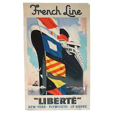 Vintage French EDOUARD COLLIN Lithograph Advertising Poster, French Line Liberte