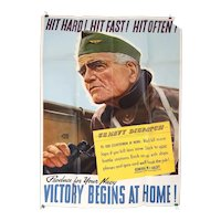 American JOHN FALTER Offset Lithograph Poster World War II Propaganda, Hit Hard!