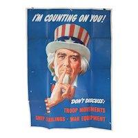 American LEON HELGUERA World War II Propaganda Offset Lithograph Poster, Uncle Sam