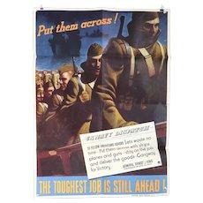 American JOHN FALTER World War II Offset Lithograph Poster, Put them Across!