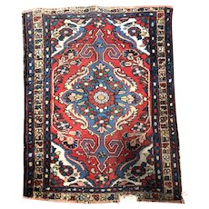Small Red and Blue Wool Rug