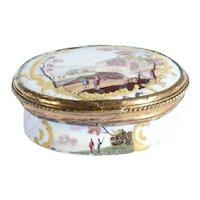 French Gilt Metal Enamel Oval Love Token Snuff Box, Fidelle en Amour