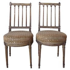 Pair of Louis XVI Painted Beechwood Upholstered Boudoir Side Chairs