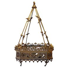 Fine French Gilt Bronze Hanging Eight-Light Pendant Light