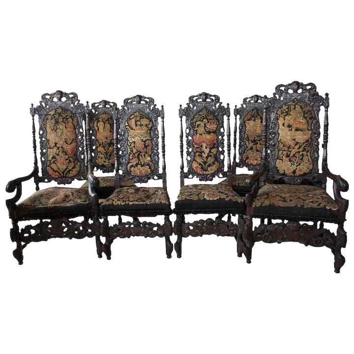 Outstanding Set Of Six American Jacobean Style Oak Dining Chairs Bralicious Painted Fabric Chair Ideas Braliciousco