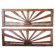 Pair Anglo Indian Polychrome Teak Sunburst Pierced Architectural Panels