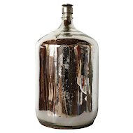 Large Silver Mercury Glass Jug with Metal Stopper