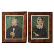 JACOB BAILEY MOORE New England Folk Art Pastel Portraits of Stephen and Dorothy (Dolly) Smyth