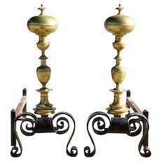 Large Pair of Italian Baroque Revival Brass and Wrought Iron Fireplace Andirons