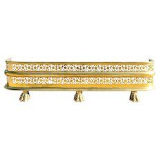 English Regency Style Pierced Brass Fireplace Fender