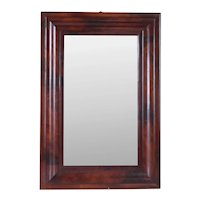 American Empire Flame Mahogany Ogee Frame Glass Wall Mirror