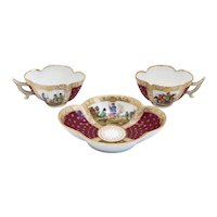 Pair of German Dresden Helena Wolfsohn Studio Gilt Porcelain Tea Cups and Saucer