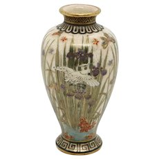 Miniature Japanese Meiji Satsuma Gilt Porcelain Baluster Iris and Crane Vase