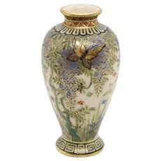 Miniature Japanese Meiji Satsuma Gilt Pottery Baluster Butterfly Vase