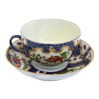 English First Period Worcester Gilt Porcelain Fancy Bird Pattern Tea Cup and Saucer