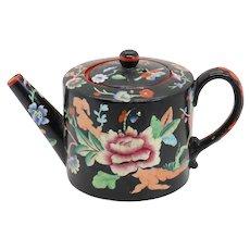 Scarce Miniature English Davenport Earthenware Floral Black Teapot