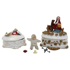 Two Continental Victorian China Fairing Trinket Boxes and Snow Baby