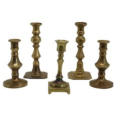 Collection of Five Small Brass Candlesticks and Tapersticks