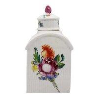 German Rauenstein Porcelain Floral Ribbed Tea Caddy
