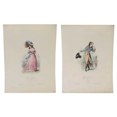 Two French Hand Colored Lithographs Prints, Modes Parisiennes Fashion Plates