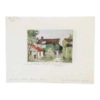 Vintage MARCEL JACQUE Hand Colored Etching, La maison de Theodore Rousseau a Barbizon