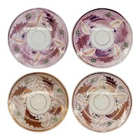 Set of Four English Staffordshire Lusterware Pottery Copper and Pink Foliate Pattern Plates