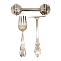 Three Vintage American Sterling Silver and Silverplate Children's Flatware and Holloware
