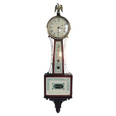 American E. Howard & Co. for Bigelow Kennard Co. Mahogany and Eglomise Glass Banjo Clock