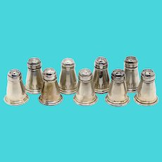 Set of Nine Vintage American A.T. Gunner & Co. Sterling Silver Individual Salt and Pepper Shakers