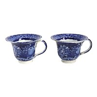 Pair of English Ralph Hall Blue Transferware Pottery Select Views Custard Cups
