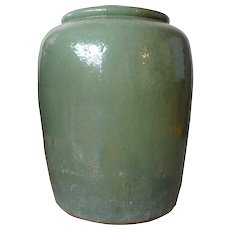 Large Chinese Celadon Green Glazed Pottery Water Urn