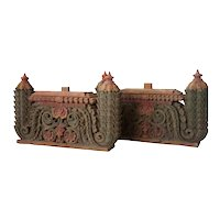 Pair of South Indian Painted Teak Architectural Fragments