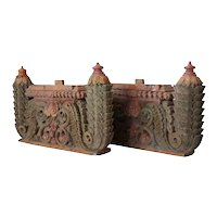 Pair of South Indian Painted Teak Architectural Carvings